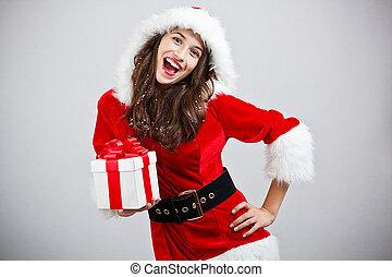 Woman in Santa cloth