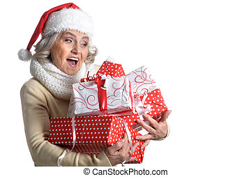 Woman in Santa hat with presents
