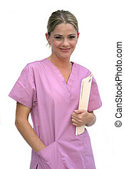 Woman in Scrubs - Healthcare worker in uniform, isolated on ...