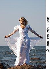 woman in seaside