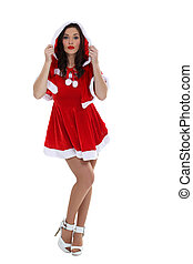 Woman in sexy Christmas dress