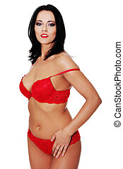 Woman in Sexy red  lingerie