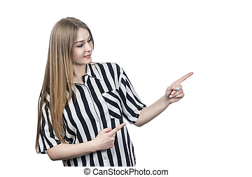woman in shirt points to the side