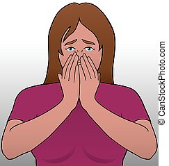 Woman in Shock - Woman is covering her face in shock