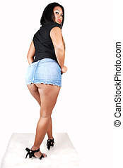 Woman in short skirt.