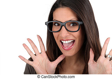 Woman in silly glasses