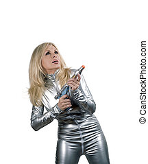 Woman in silver catsuit