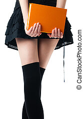 woman in skirt and stockings with book - view of the lower...