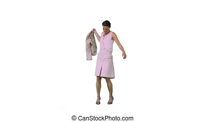 Woman in slow motion throwing her jacket