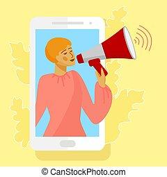 Woman in smarrtphone screen. Woman holding loudspeaker or bullhorn. Vector illustration in flat style.