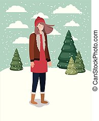 woman in snowscape with winter clothes