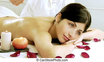 Woman in spa relaxing happy