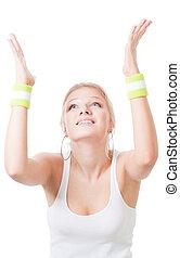 woman in sport wearing pray to win