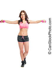 woman in sportswear with dumbbells on a white background