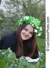 Woman in spring wreath