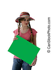 Woman in straw hat holding green poster