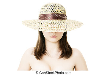 Woman in straw hat isolated on white background
