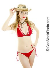 Woman in straw hat. isolated on white.