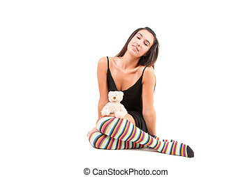 Woman in striped stockings