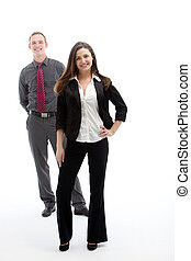 Woman in suit and her business partner