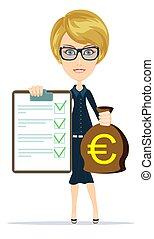 Woman in suit insurance and money. - Woman in suit, manager...