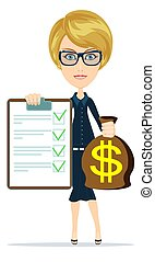 Woman in suit, manager or agent shows a document, insurance....