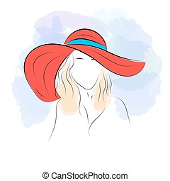 Woman in summer hat