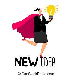Woman in superhero cloak with light bulb - new idea vector illustration