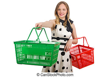 Woman in supermarket shopping concept