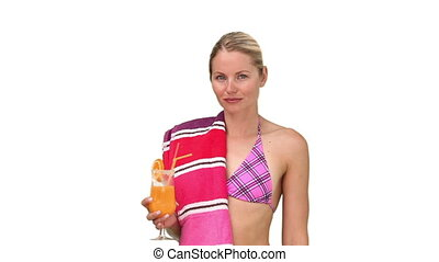 Woman in swimsuit felling too hot