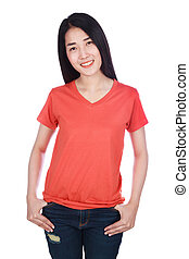 woman in t-shirt isolated on white background