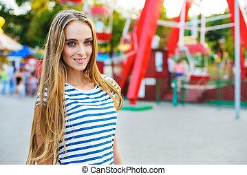 woman in the amusement park