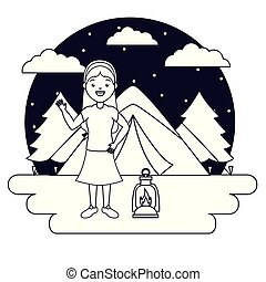woman in the camping tent night