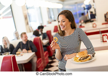 Woman in the diner