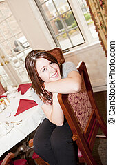 woman in the dining room