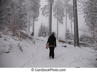 woman in the forest, winter
