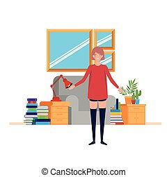 woman in the living room with desk and books