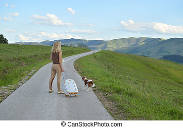 Woman in the Middle of a Road