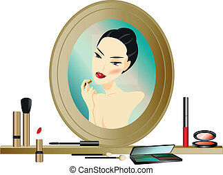 Woman in the Mirror with make up accessories
