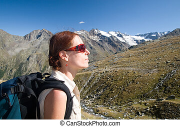 Woman in the mountains