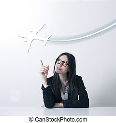 woman in the office with the plane,