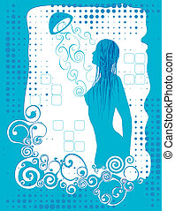 woman in the shower room being sprayed with water in a light blue tone