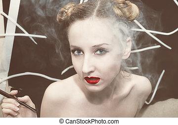 Woman in the smoke