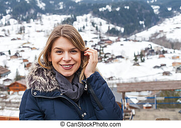 Woman in the swiss alps