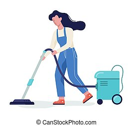 Woman in the uniform cleaning floor using vacuum cleaner.