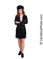 Woman in the uniform of an airplane pilot