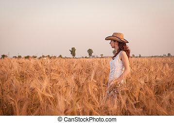 Woman in the wheat field