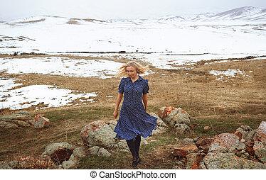 Woman in the winter landscape