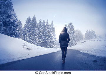 Woman in the winter