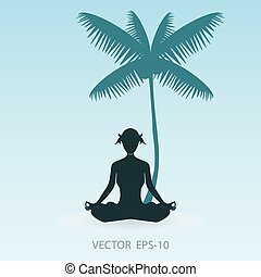 woman in the yoga poses on the beach, Coconut palm tree silhouet